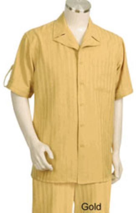 Mens Single Breasted Yellow Background Five Button Fastening Short Sleeve Walking Suit