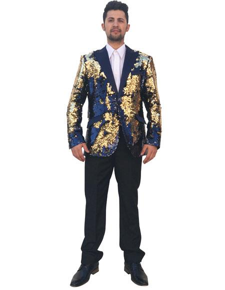 Mens Shiny Sequin Gold ~ Navy 2 Button Cheap Priced Designer Fashion Dress Casual Blazer For Men On Sale Blazer ~ Sport Coat