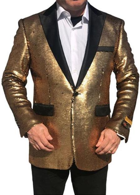 Alberto Nardoni Shiny Gold Black Lapel paisley look Fashion Tuxedo sport coat jacket