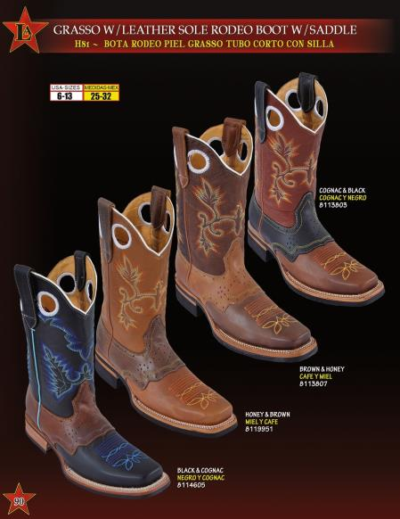 Los Altos Men's Grasso W/ Leather Sole & Saddle Rodeo Cowboy Western Boot ~  botines para hombre 4 colors
