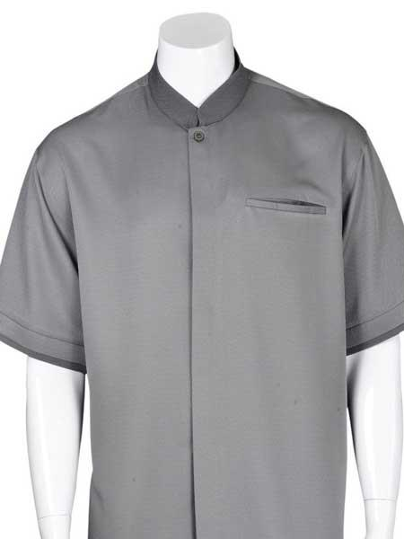 Men S 2 Piece Set Banded Collar Casual Shirt And Pant Gray
