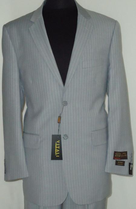 Men's Gray Classic Business Pinstripe Designer 2 Button Suit Gray
