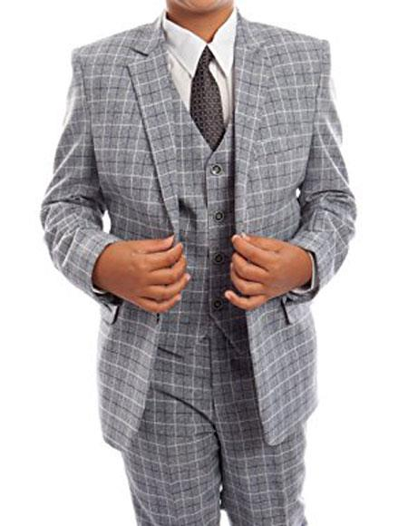 1930s Childrens Fashion: Girls, Boys, Toddler, Baby Costumes Boys 3-Piece Check Tuxedo Gray Suit Set With Matching Shirt  Tie $85.00 AT vintagedancer.com