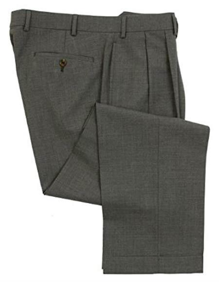 Ralph Lauren 100% Wool Double-Reverse Pleated Lined To The Knee Dress Pants Slacks Gray unhemmed unfinished bottom