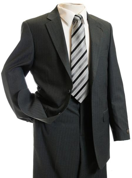 SKU#NT3536 Mens Charcoal Gray Tone on Tone Stripe ~ Pin Designer Suit