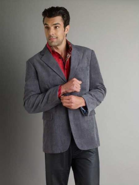 37750-Casual Sport Coat Gray Men's Corduroy Fashion Jacket SM336