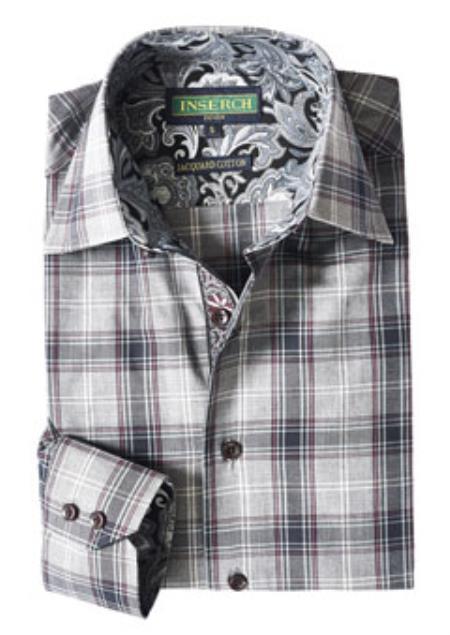 Buy Style2606-33 Inserch Mens Gray Plaid Cotton Shirt Paisley Trim