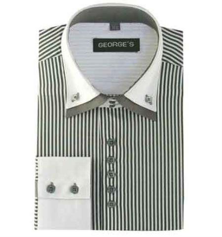 Gray Men's Long Sleeve Two Tone Striped White Collar Two Toned Contrast White Collared Contrast Men's Dress Shirt