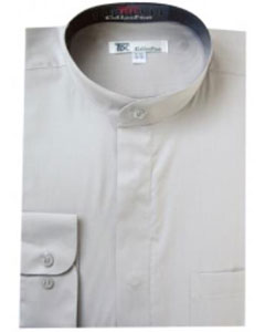 SKU#X-68R Mens Band Collar Dress Shirts Grey