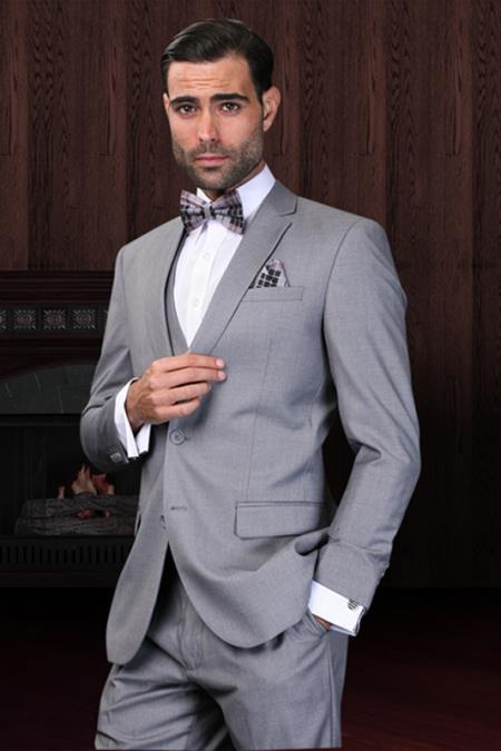 Slim Fit Suit Gray Narrow Lapel LOW VEST Vented European Men's Slim Fit Suits - Three Piece Suit