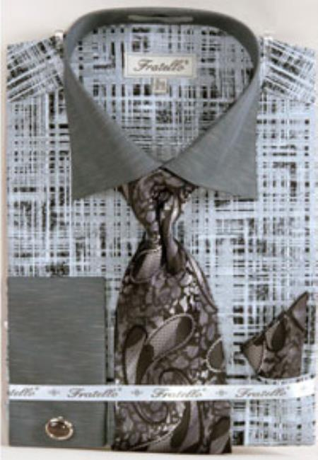 Mens Black/Gray Fratello Tone on Tone French Cuff Dress Shirt Set