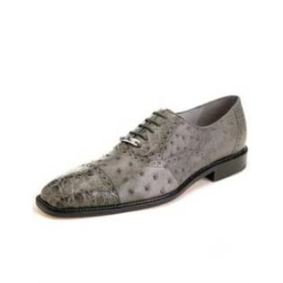 Cap toe Lace UP Oxford Style Gray Ostrich & Crocodile Authentic Genuine Skin Italian Shoes