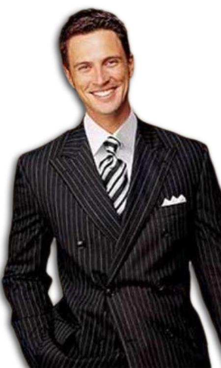 Brand New SUPER Wool Black Pinstripe Double Breasted Suits Our Price (Wholesale Price available)