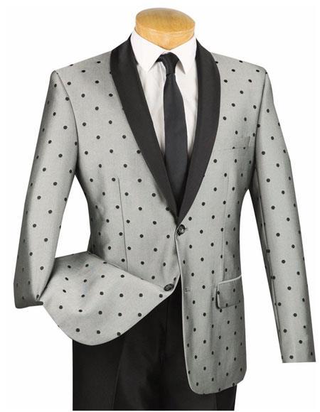 SKU#AP539 Mens 2 Button Slim Fit Polka Dot Shawl Lapel Gray Single Breasted Tuxedo Suit