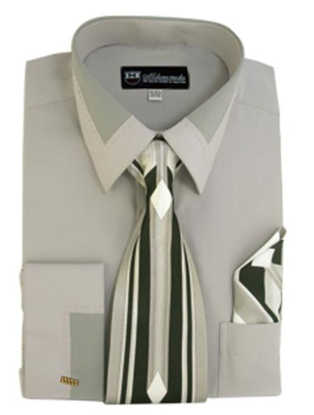 Gray French Cuff + Tie + Handkerchief Set Men's Dress Shirt