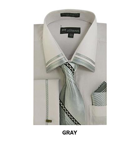 Men's Gray Fashion Shirt with Matching Tie and Hankie Set