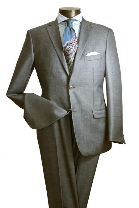 SharkGrey Mens 2 Button Slim Fit Grey Shiny Sharkskin Suit