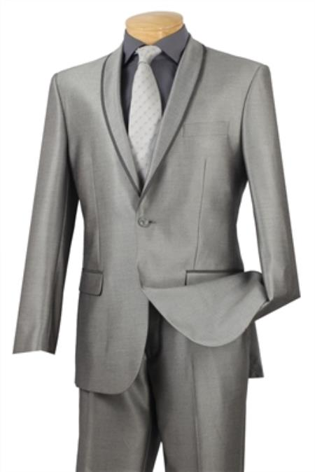 SKU#PNX4 Shawl collar Tapered Leg Lower rise Pants & Get skinny Gray Mens Fashion Slim Fit Suit
