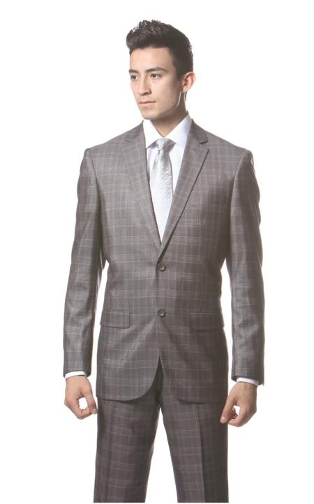 Mens Dark Gray Plaid Slim Fit Suit Hamilton