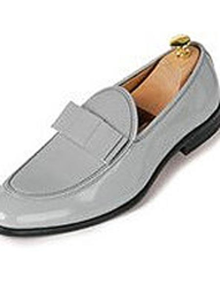 SKU#CH127 Men's Fashionable Bow Tie Tuxedo Shoes Cuban Heel Gray Loaferss