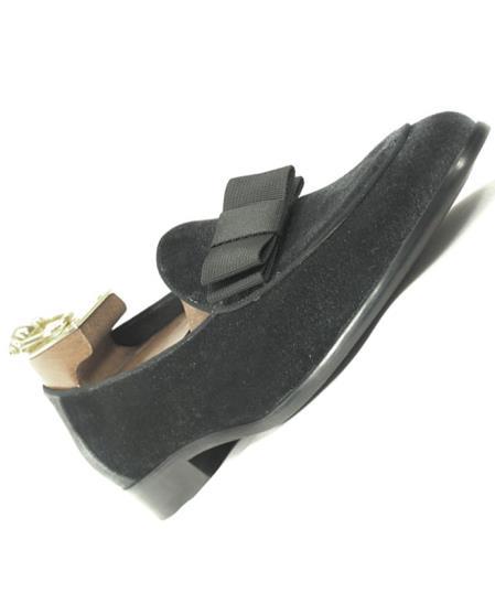 SKU#SM4144 Men's Fashionable Genuine Gray Slip On Velvet / Bow Tie Tuxedo Formal Dress Shoe