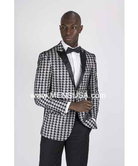 Mens houndstooth checker Grey Tux ~ Gray Tuxedo Black Lapel Dogs Tooth Suit Wedding Groom