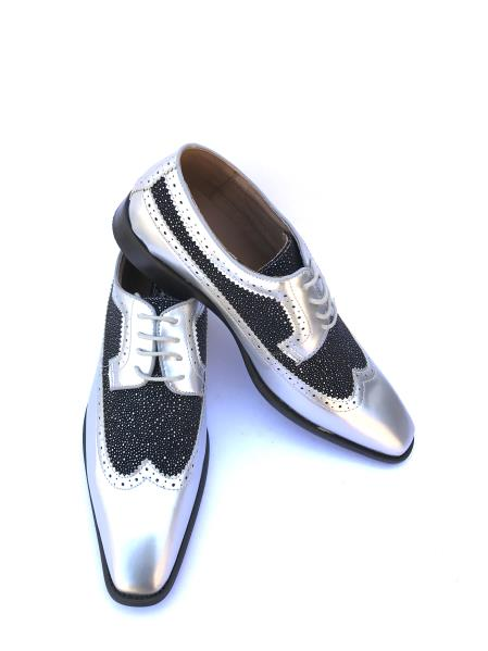 Mens Laceup Style Wingtipla Grey ~ Gray Two Toned Color Fashionable Shoes