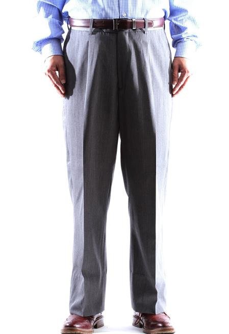 Mens Gray Wool Gray Pleated Pants