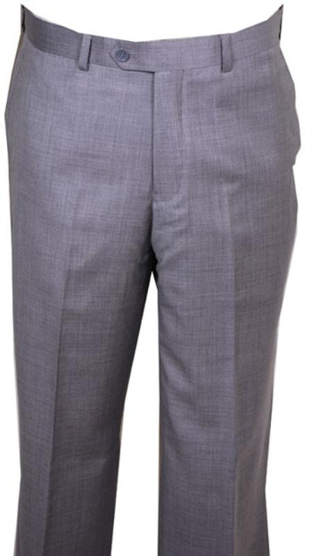 Buy HU447 Men's Dress Pants Light Gray Wool without pleat flat front Pants