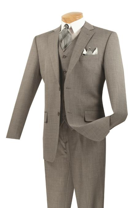 Men's 3 Piece Wool Feel Classic Suit– Gray - Three Piece Suit
