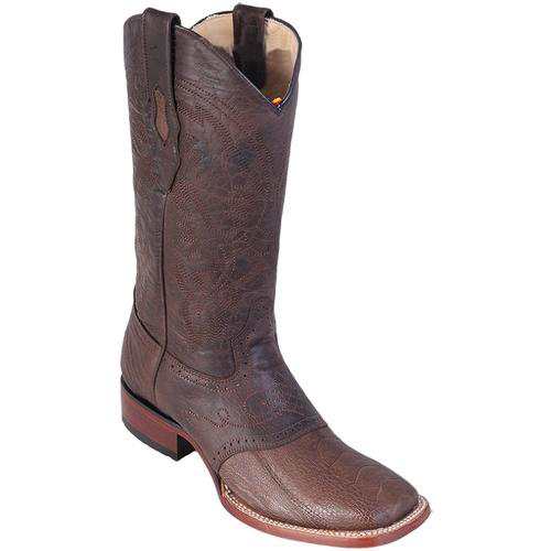 Buy SM3818 Men's Greasy Brown Los Altos Wide Square Toe Ostrich Leg W/ Saddle Vamp Boots