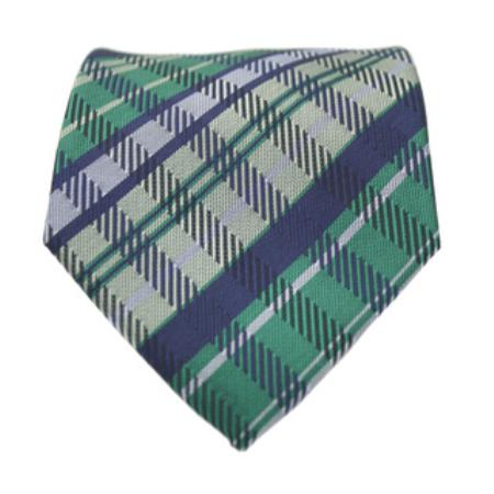 Slim Green / Blue Glen Classic Necktie with Matching Handkerchief - Tie Set
