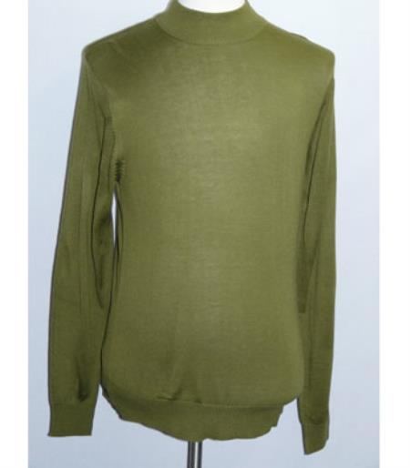 Buy SS-111 Men's INSERCH Green Mock Neck Pullover Knit Sweater High Collar Casual Dressy