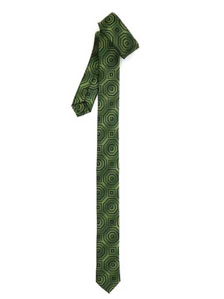 Retro Geometric Fully Lined Polyester Satine Fabric Green Super Skinny Slim Tie