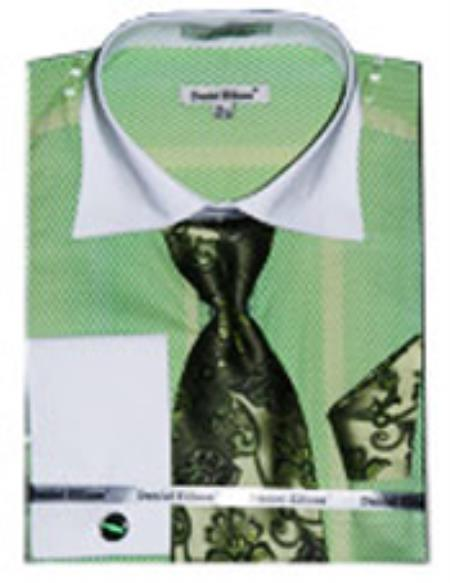 SKU#PND71 Mens Fancy Shirts White Collar Two Toned Contrast lime mint Green ~ Apple ~ Neon Bright Green (100% Polyester)