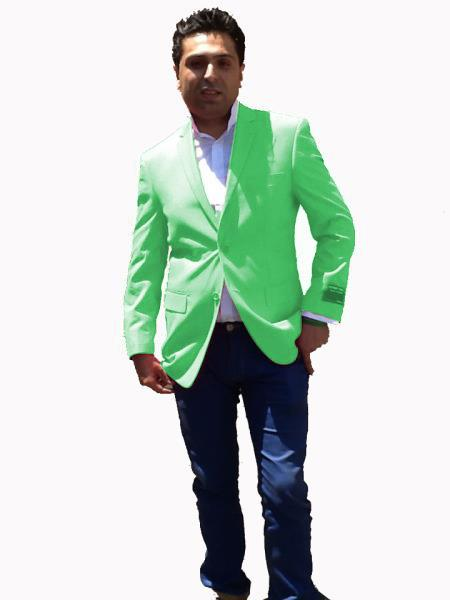 Stage Party Bright Mens Sport Coat / Dinner Jacket Blazer Vented Live Green