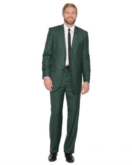 Mens 2 Piece Hunter Green Suit
