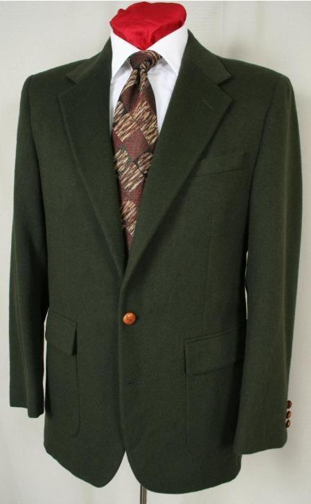 SKU#1827 Hunter Green Antique brass crest buttons Blazer Natural shoulders (Men + Women)