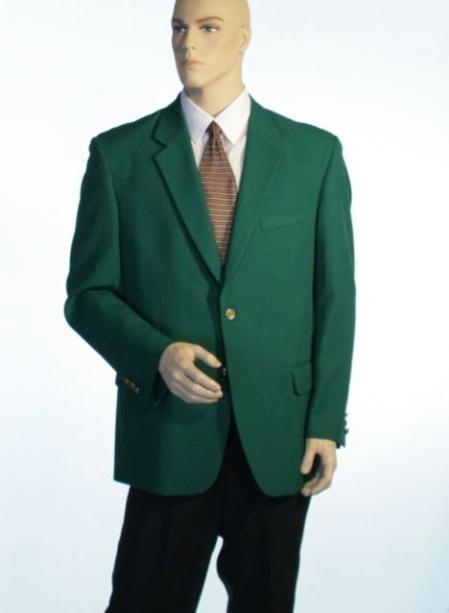 SKU#1832 Augusta Green Antique Brass Crest Buttons Cheap Unique Dress Blazer For Men Jacket For Men Sale Natural Shoulders (Men)