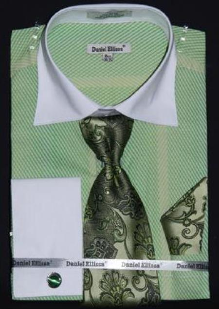 Apple Two Tone Stripes Design Dress Fashion Shirt/ Tie / Hanky Set White Collar Two Toned Contrast With Free Cufflinks