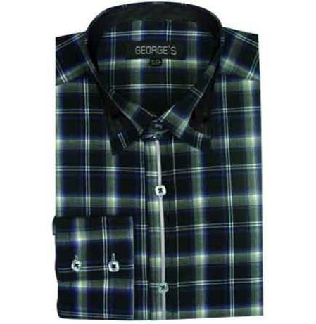 Men's Green Dress Shirt Long Sleeve Plaids And Checks Pattern