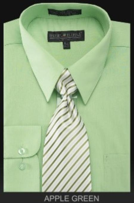 SKU#MK0202 Men's Dress Shirt - PREMIUM TIE - lime mint Green ~ Apple ~ Neon Bright Green