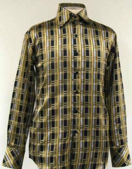 1960s Men's Clothing, 70s Men's Fashion Fancy Polyester Dress Fashion Shirt With Button Cuff Olive Green $65.00 AT vintagedancer.com