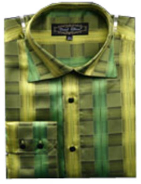 SKU#PN_W62 Mens Fancy Shirts Green (100% Polyester) Flashy Shiny Satin Silky Touch