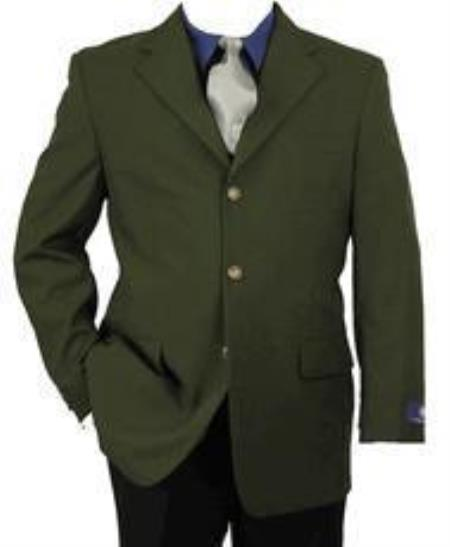 Mens Army ~ Hunter Olive Green Blazer Two buttons Men's Wholesale Blazer Sport Coat Jacket With Brass Buttons