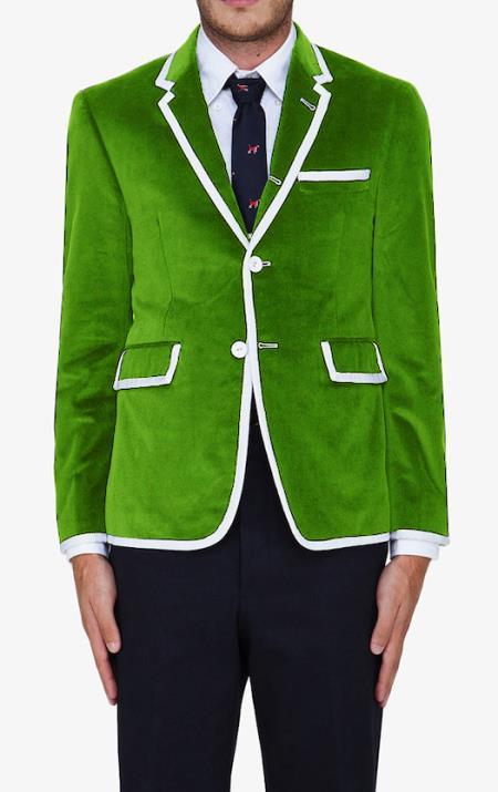 SKU#EVG8 lime mint Green Classic Cotton~Rayon Blazer