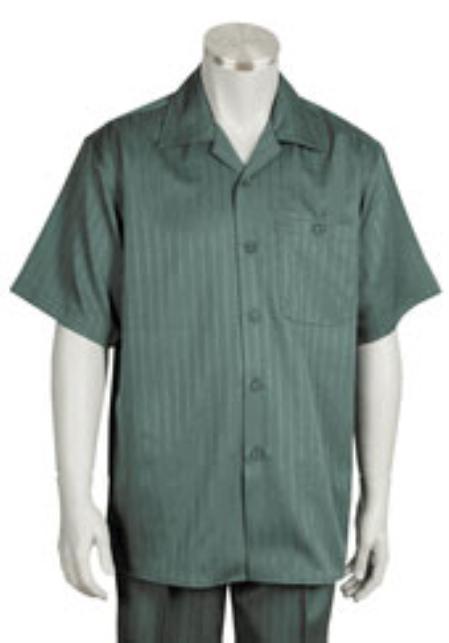 1940s Style Mens Shirts, Sweaters, Vests Leisure Walking Suit Mens Short Sleeve 2piece Walking Suit $89.00 AT vintagedancer.com