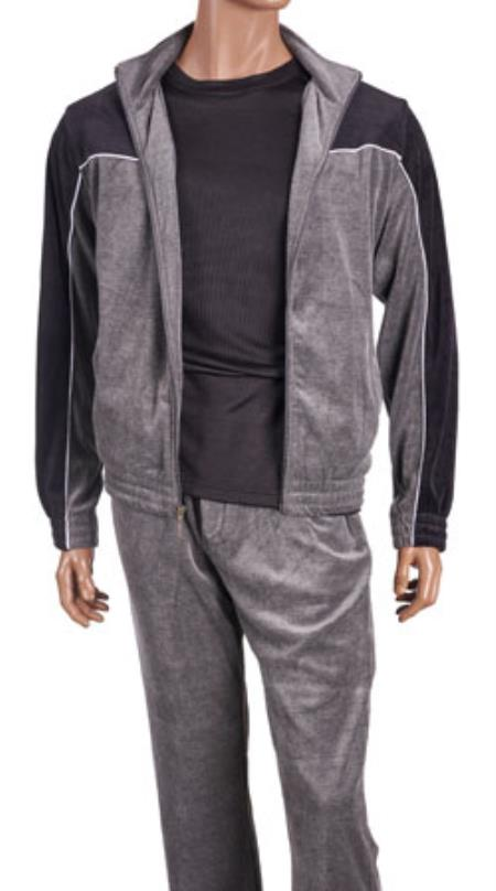 Mens Two Tone Grey velour Jogging Casual Walking Suit Set (Shirt & Pants Included ) Isch51
