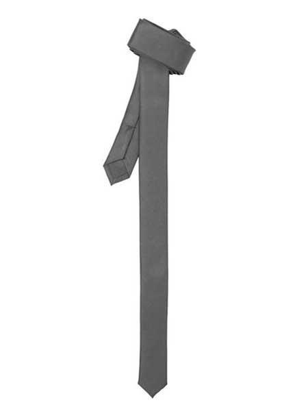Shiny Grey Fashionable Super Skinny Slim Fully Lined NeckTie