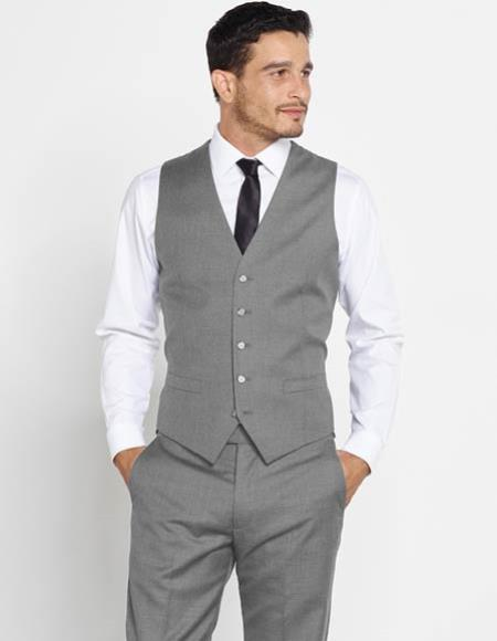 Mens 5 Button Vest + Matching Dress Pants Set + Any Color Shirt & Tie Charcoal Grey